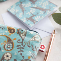 Paisley Blue Oilcloth Zipped Pouch