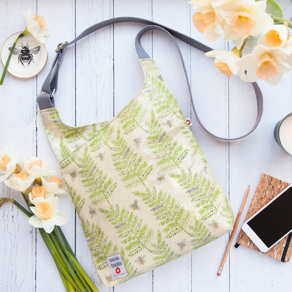 Fern & Bee Cross-Body Oilcloth Bag