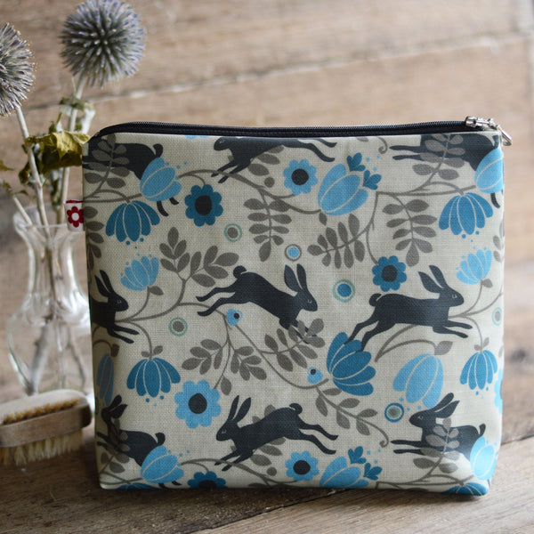 Wild Hare oilcloth wash bag by Susie Faulks