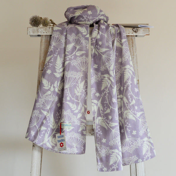 Cow Parsley Plum cotton scarf