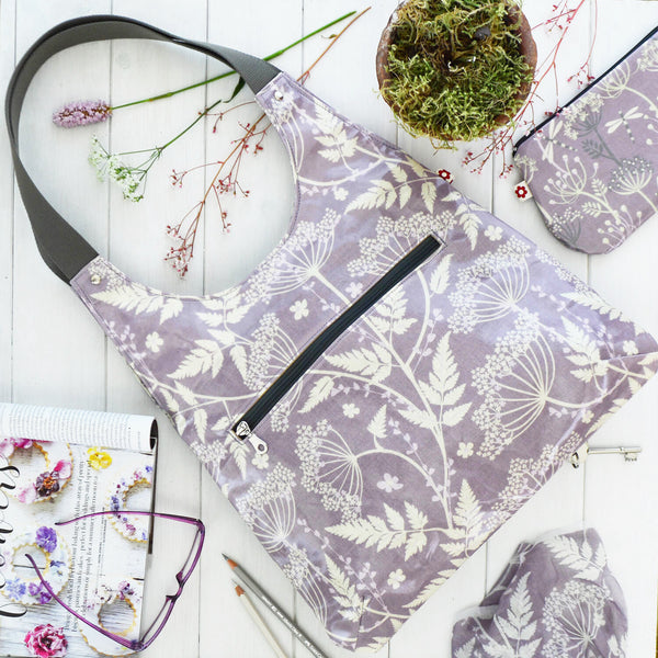 Cow Parsley Plum Oilcloth Shoulder Bag