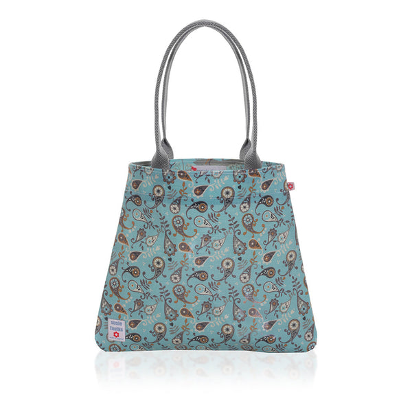 Paisley Blue Oilcloth Tote Bag