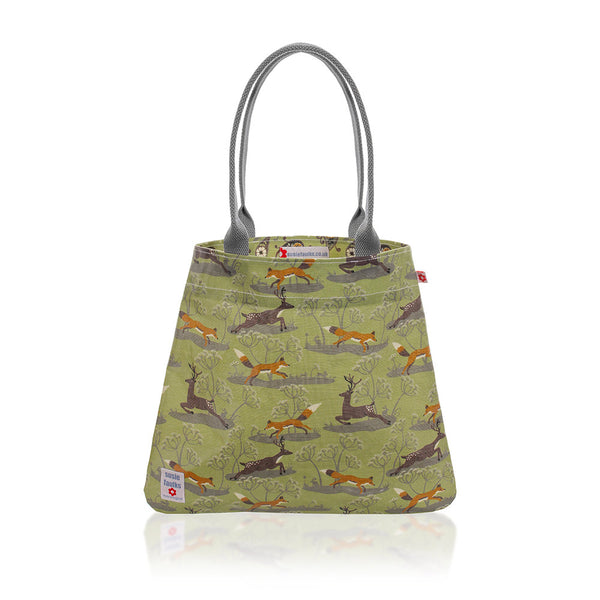 Fox & Deer Tote Bag in Green