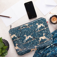 Whippet Oilcloth Zipped Pouch