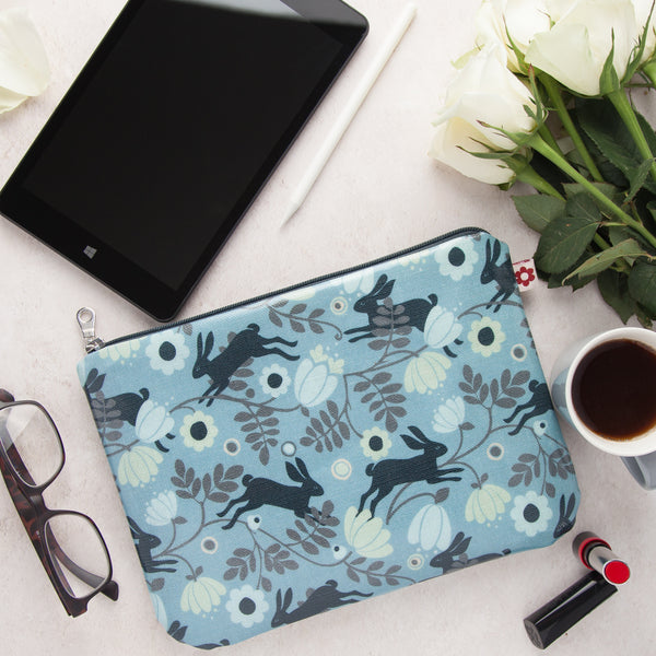 Wild Hare Blue Oilcloth Zipped Pouch
