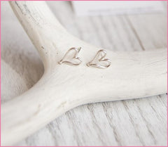 Heart shaped stud earrings sterling silver Juliet925 handcrafted professional jewelry zoom meeting Vancouver fashion