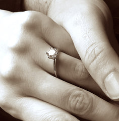 Engagement ring locally sourced handcrafted recycled 10K white gold wedding proposal Juliet925