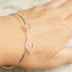 Mothers day gift idea handcrafted heart shaped charm bracelet Juliet925 solid sterling silver bangle 2021 fashion