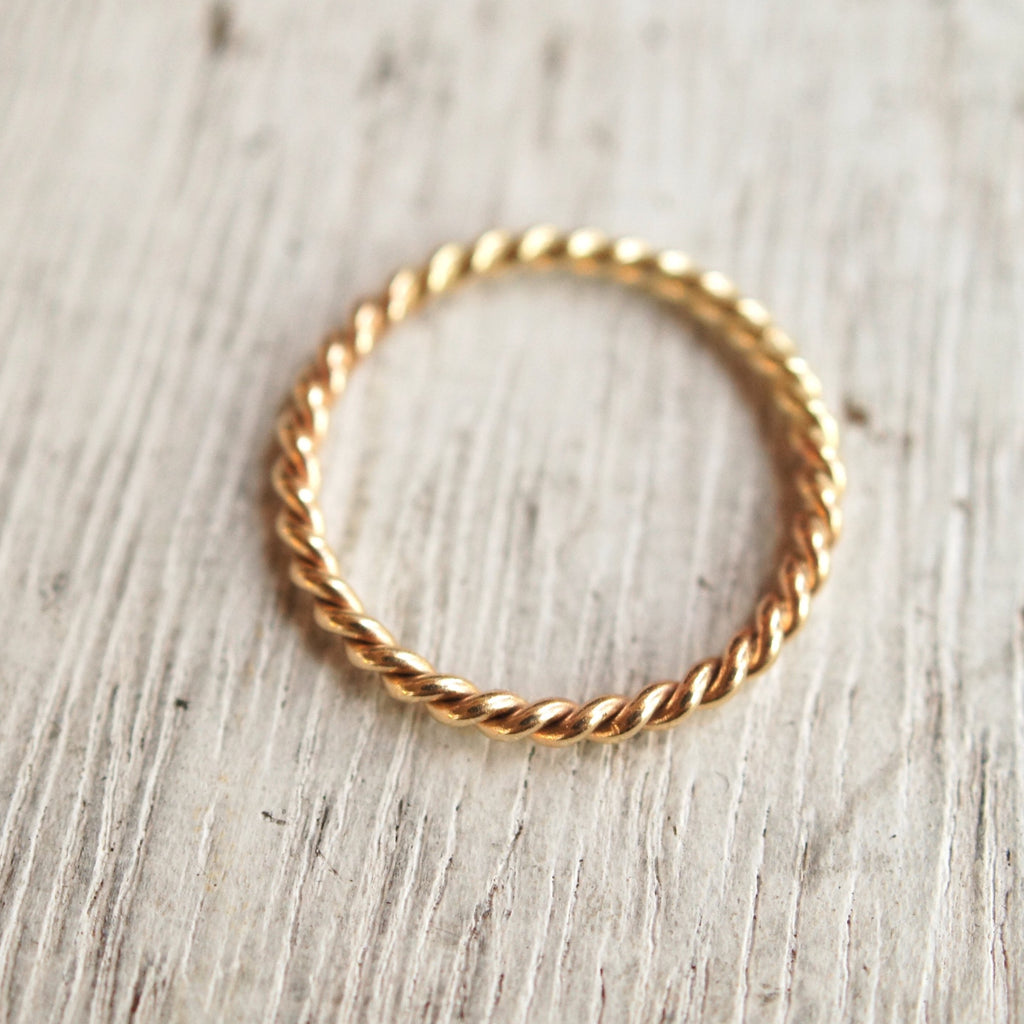 Gold twist ring, solid 10k gold rope twist stacking ring band, gold wedding band
