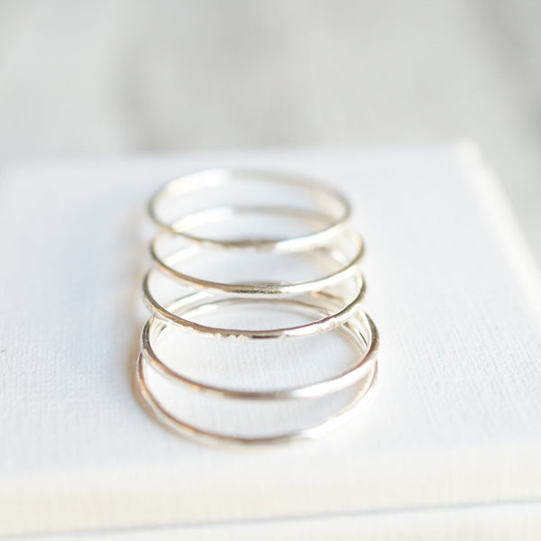 5 skinny stacking rings silver