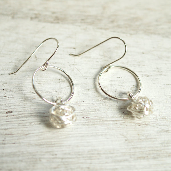 Dangle wire ball earrings silver