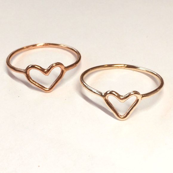 gold heart shape ring