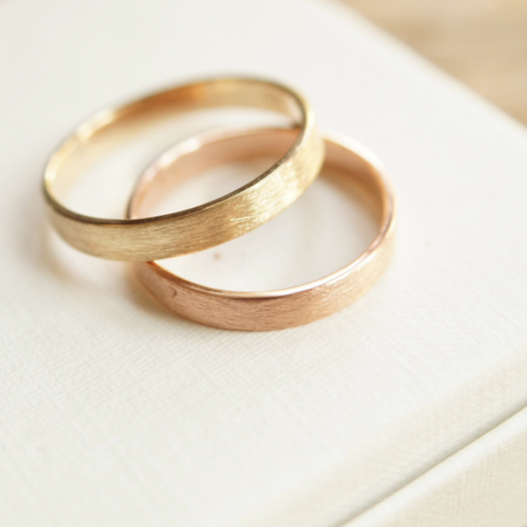 brushed yellow gold and rose gold wedding rings