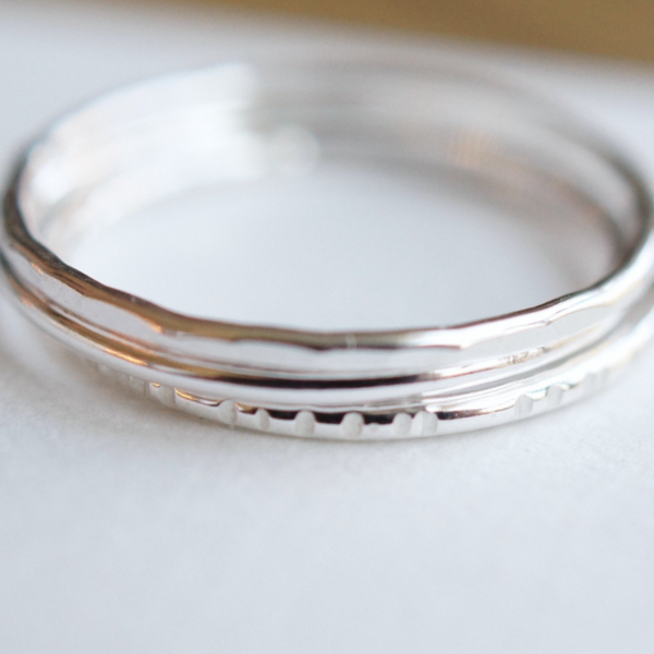 Silver stacking rings set of 3