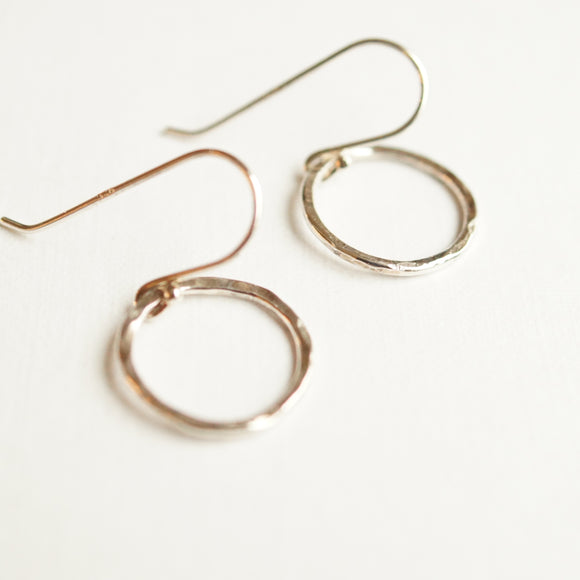 silver open circle earrings