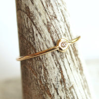 Tiny diamond 10k gold ring solitaire