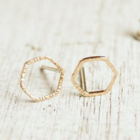 gold hexagon earring studs
