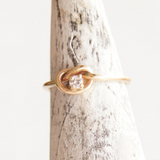 dainty solid recycled gold diamond knot ring