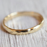 Hammered recycled gold  band