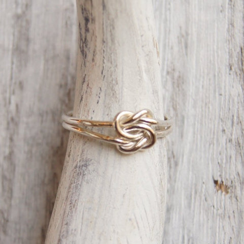 Double knot ring bridesmaid gift or promise ring solid sterling silver