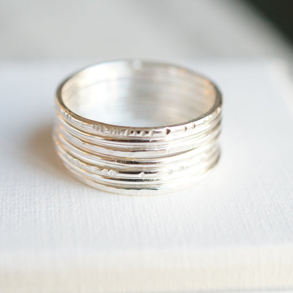 7 skinny stacking rings silver