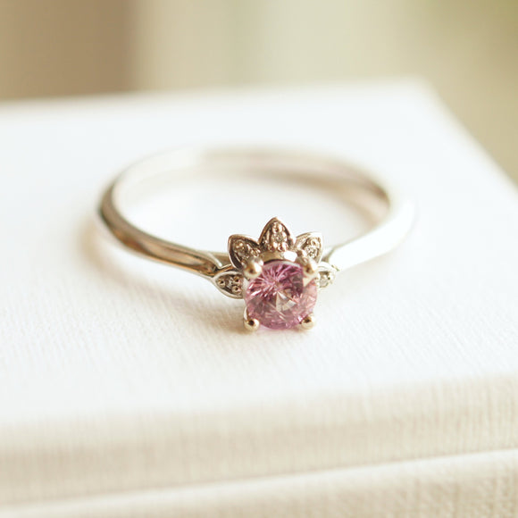 Pink sapphire white gold engagement ring