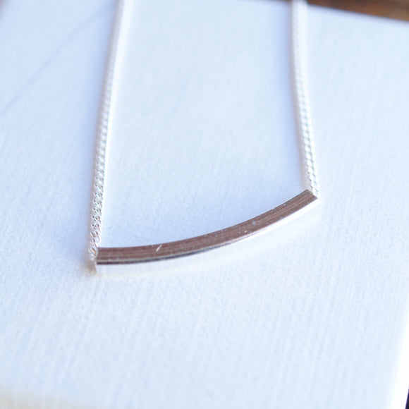 Silver bar slider necklace