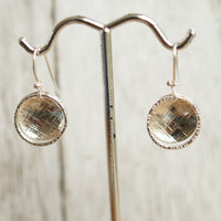 Hammered disc silver earrings