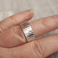 wide band hammered silver ring