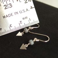 Bead dangle earrings with ruler for reference