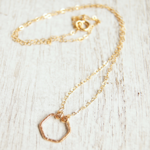 continuous style gold filled chain with hexagon pendant