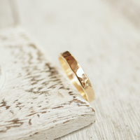 rustic hammered gold wedding ring