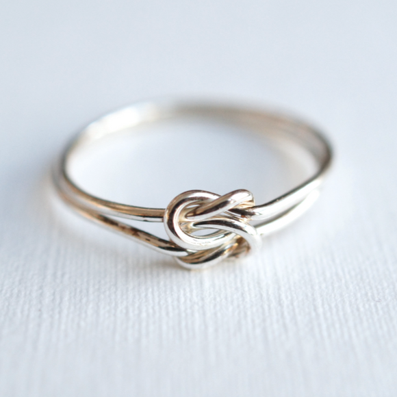 forget me knot ring, sterling silver