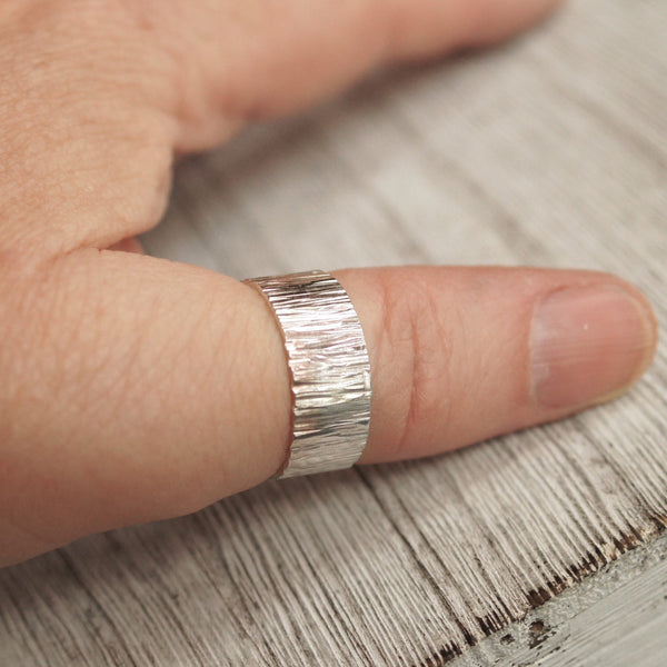 hammered silver thumb ring