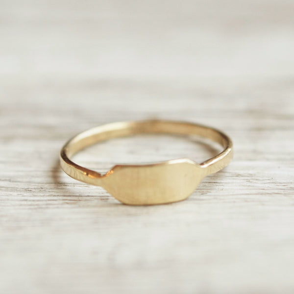 Gold signet bar ring