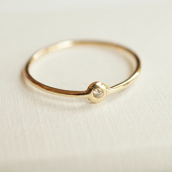 dainty gold diamond alternative ring