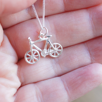 tiny silver bicycle pendant