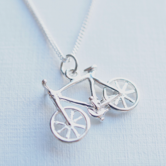 silver bicycle necklace
