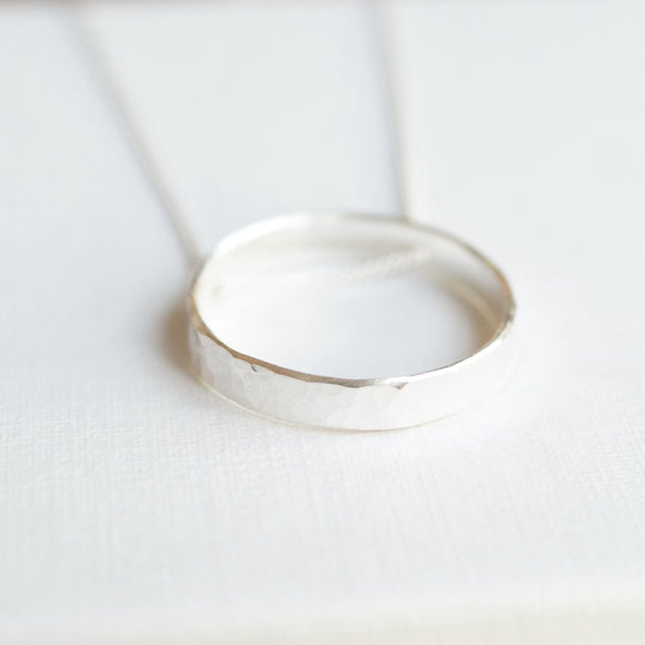 Silver slider hoop necklace
