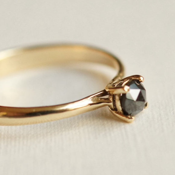 black diamond solitaire ring'