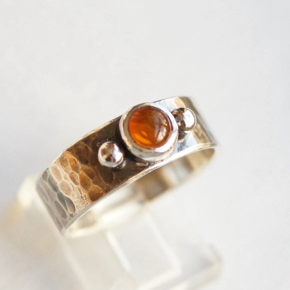Fire opal hammered silver ring
