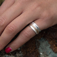 silver spinner ring on hand