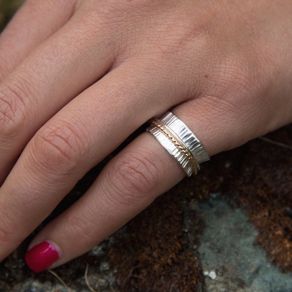 Hammered silver spinner meditation ring