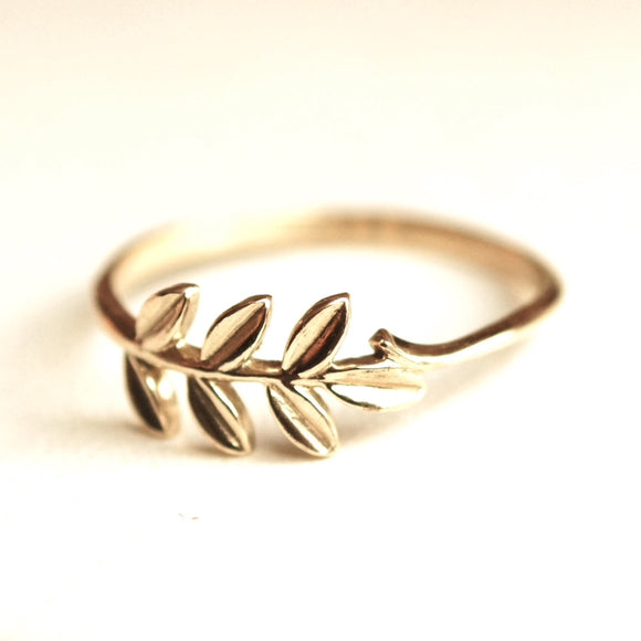 Olive branch ring 10k gold