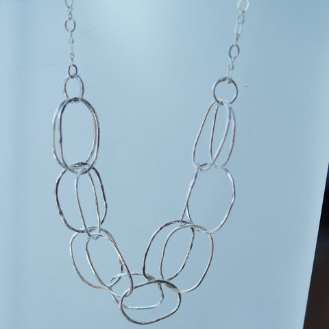 Aria chain large link hammered sterling silver chain
