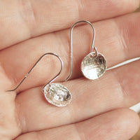 Silver disc dangle earrings