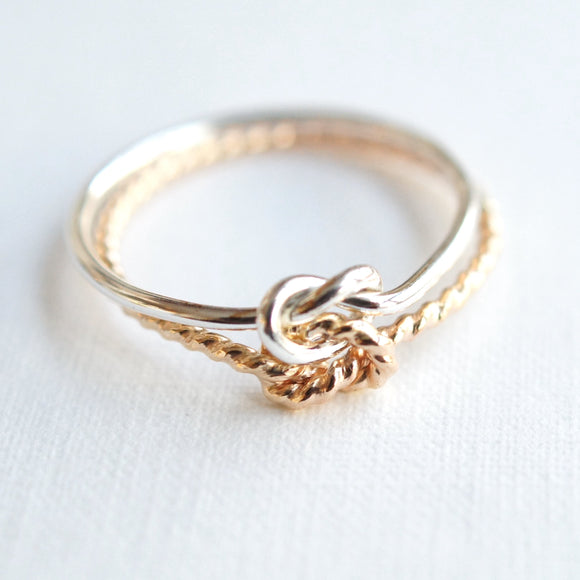 gold filled and sterling silver friendship ring