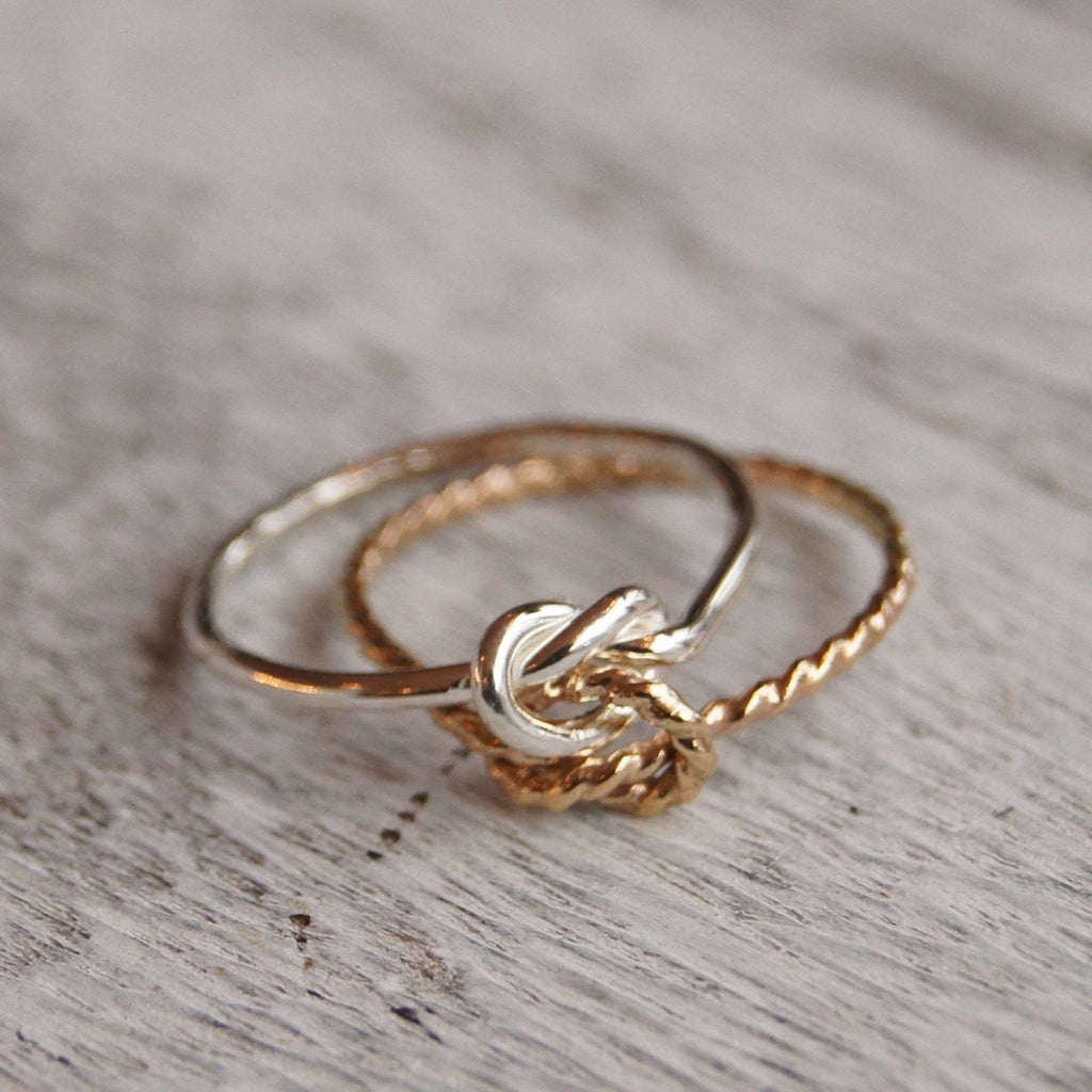 Double knot ring mixed metal from size 3 - 9