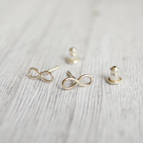 Infinity stud earrings silver