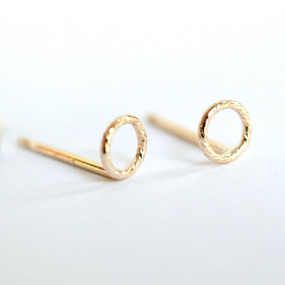 tiny textured gold circles studs